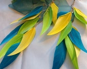 SALE -Blue-Yellow-Green Feathered earrings