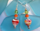 SALE-Heart Earrings--lampwork earrings