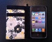 Yellow and black floral iPhone 3, 4, 4S, 5, iPod Touch 4G, 5 wallet with removable gel case