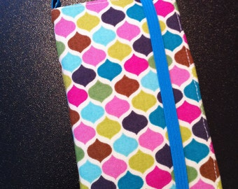 Multi colored geometric print iPhone & iPod Touch wallet with removable gel case