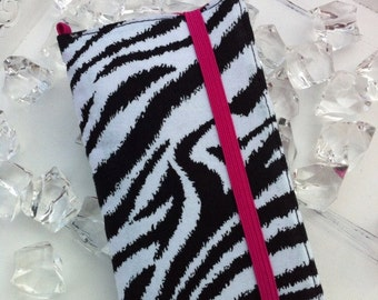 iPhone, iPod Touch wallet with removable gel case zebra hot pink