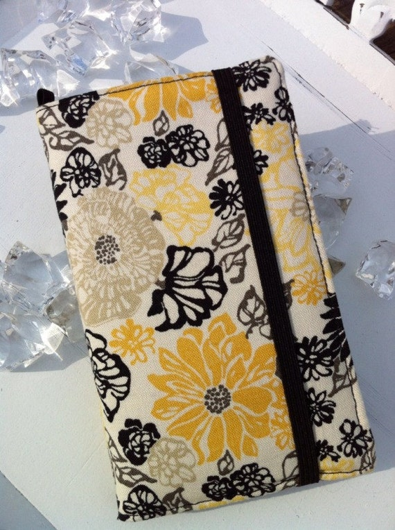 Samsung Galaxy yellow flowers wallet with removable gel case
