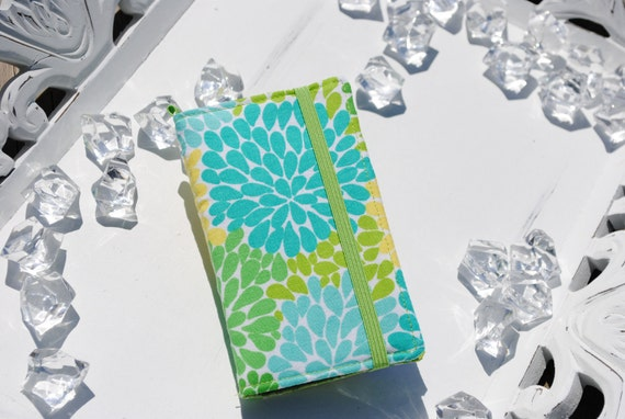 Blue, green, yellow chrysanthemum print iPhone 3, 4, 4S, 5, iPod Touch 4G wallet with removable gel case