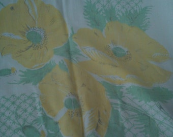 Vintage Cotton Tablecloth - Yellow Poppies