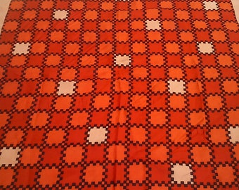 Vintage Ladies square abstract scarf Orange/Red/Peach