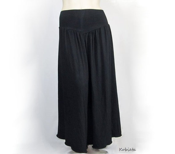 Womens Wide Leg Pants - Harem Yoked Yoga Band -All Natural Fiber Jersey Custom Size and Color - Made to Order - XXS thru Large