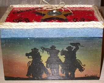 Cowboy Wood Box, Western Boxes, Western Home Decor, Treasure Boxes