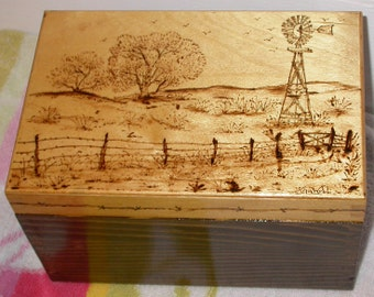 Country Scene Wood Box, Country Home Decor, Western Home Decor, Windmills, Wooden Boxes