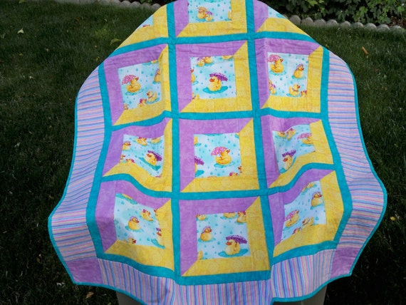 Whimsical Rubber Ducky Baby Quilt handmade with Love