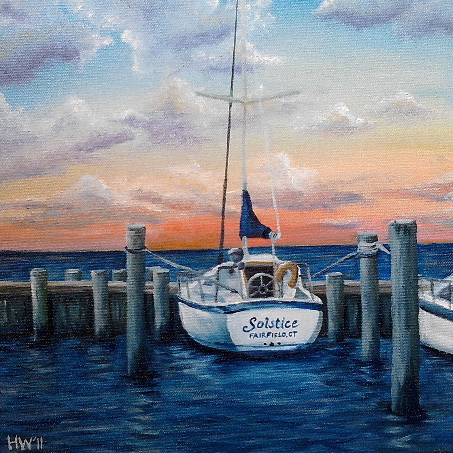 nautical sailboat oil painting ocean art boat by