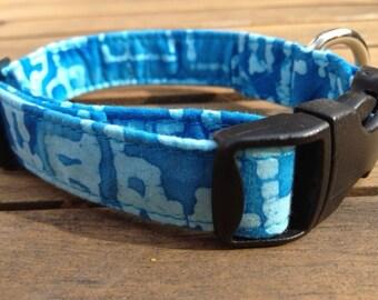 Blue batik dog collar