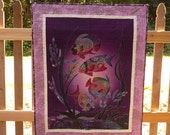 Rainbow Fish Quilt, Handmade Wall Hanging Quilt, Hand Dyed Purple Fish Lap Quilt, Great Gift for Ocean Lover