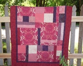 Pink Rose Quilt, Patchwork Flower Lap Quilt, Beauiful Pink Lover Gift, Handmade Art Piece ON SALE