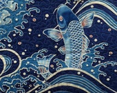 Fish Quilt, Asian Wall Hanging Quilt, Fish Lap Quilt, Unique Gifts, Handmade Art Quilt, Ocean, Sea, Wave, Japanese Fish Lovers, ON SALE
