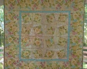 Pastel Flowers Quilt, Soft Baby Girl Quilt, Wall Hanging Quilt, Beautiful Lap Quilt, Romantic, Victorian, Shabby Chic