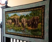 Elephant Art Quilt, Handmade Wall Hanging Quilts, Realistic Animal Elephant Landscape, African Safari Artwork