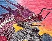 Asian Dragon Art Quilt, Handmade Wall Hanging Art Quilts On Sale, Great Gift, Colorful Chinese, Japanese, Oriental Home Decor