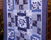Blue Flower Quilt, Lap Quilts, Large Patchwork Lap Throw Quilts, Bed Blankets, Formal Table Cover, Victorian, Blue, White, Beautiful Gifts