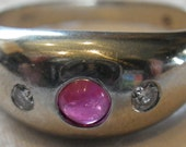 Vintage Gypsy Style 14K White Gold Diamond and Ruby Ring