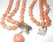 Victorian 14K Gold Coral 3 Strand Necklace and Earrings Set