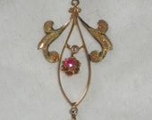 Antique 10K Ruby Pearl Lavalier Necklace