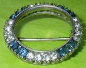 Vintage Art Deco Sterling Silver Blue and Clear Paste Brooch
