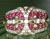 Vintage Ruby and Sapphire 14K Gold Ring