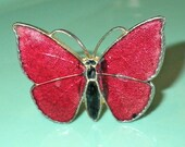 RARE Mid Century Vintage Gilt Silver Enamel Red Butterfly Ring