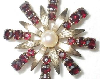 ON SALE Vintage Garnet and Pearl 8K Flower Brooch
