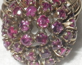 Reserved   /////      Antique Vintage 14K Gold Ruby and Garnet Dome Ring