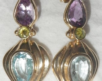 14K Gold Amethyst, Peridot and Blue Topaz Dangle Earrings