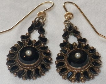 ON SALE Victorian Gold Jet Pearl Mourning Earrings