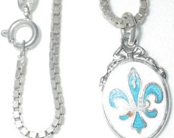 ON SALE Vintage B M Co. Sterling Silver and Enamal Blue Fleur De Lis Necklace