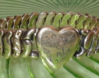 Victorian La Mode Rolled Gold Heart Expansion Bracelet, Large