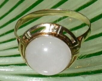 Vintage Art Deco 10K Gold Agate Ring Size 6.5