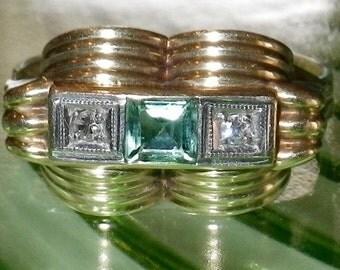 Vintage Art Deco 14K Gold Diamond and Tourmaline Ring