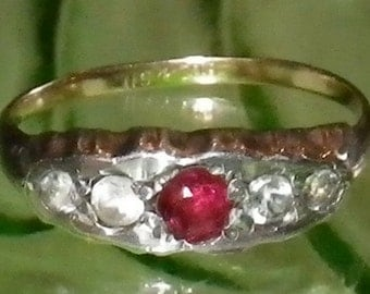 Vintage Art Deco 9ct Gold and Silver Ruby and Diamond Paste Ring