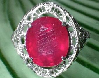 Antique 14K White Gold Filigree Natural Ruby Ring Size 6.5