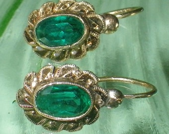 Early Victorian Solid 12K Gold and Green Paste Earrings