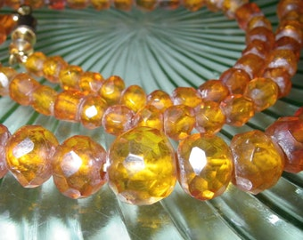 Vintage Antique Graduated Faceted Honey Amber Necklace 20""