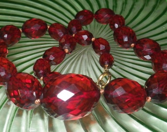 """Vintage Antique Graduated Faceted Cherry Amber Necklace  16"""""""