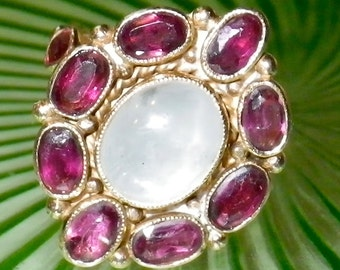 Antique Mid 19th Century 18K Gold Ruby and White Star Sapphire Ring size 9.5