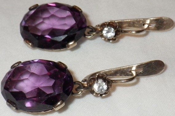 Vintage Edwardian 14K Etched Gold Alexandrite and Sapphire Earrings