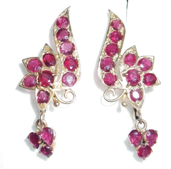 Reserved     Antique 12K Solid Yellow Gold Ruby Earrings
