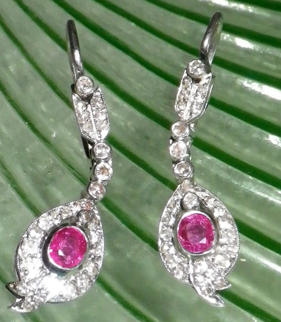STUNNING Vintage Art Deco 14K White Gold Diamond and Natural Ruby Ring and Earring Set