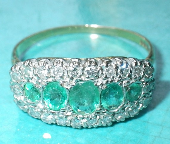 Early Victorian 18K Gold Natural Emerald and Diamond Wedding Engagement Ring size 9.75