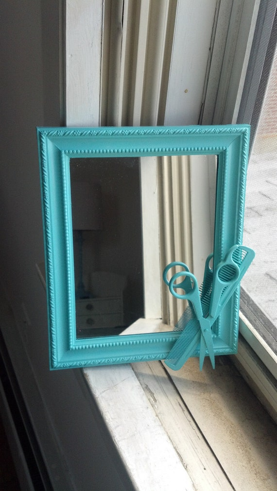Teal hairstylist shears mirror by cheesecrafty on etsy for Teal framed mirror