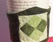 Coffee Cup Cozy-Dark Green Quilted Cup Cozy