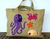 SOLD BOHO STYLE The Ultimate Summer fashion Eco friendly  Jute tote handbag / vacations/ handmade / all to carry/ Sea life