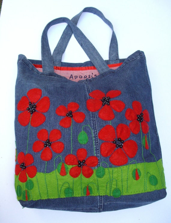 Repurposed  denim tote handbag/shopper/everyday/carry all/stylish/ecofriendly/ Popies are red